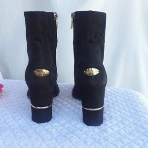 Jimmy Choo black suede leather and emblem boots